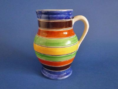 Ashtead Pottery 'Harlequin Hoops' Brittany Jug by Phoebe and Harold Stabler c1925